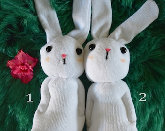 Christmas gift! SOCK BUNNY CRAFT KIT. Creature, sewing, kids, adults, monkey