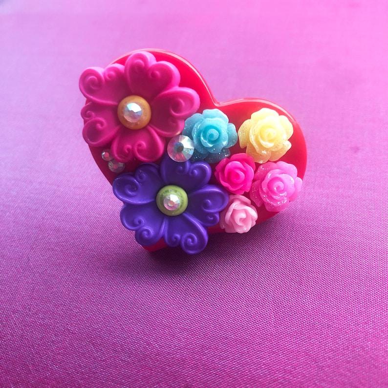 gyaru sweet lolita heart ring rose ring Heart Garden Kawaii Statement Ring Valentine/'s Day