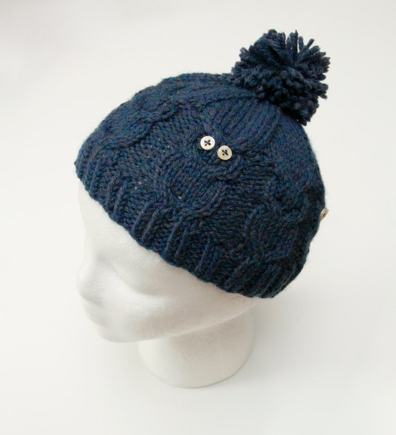 9d9a8a759da Blue cabled hand-knit winter hat. Owl hat. Blue Owl Hat. pom