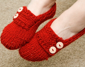 Chunky Knit Slippers, Mary Jane Slippers, Womens Slippers, Button Slippers, Girl Slippers, Sparkly Slippers, Size 7 1/2 to 10, Blue or Red