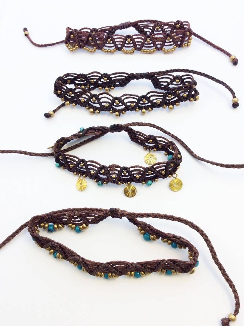 Gypsy Boho Anklet Bohemian Handmade Macrame anklet Festival Jewelry Adjustable Ankle Bracelet Bohemian Feet Adornments Mother gift
