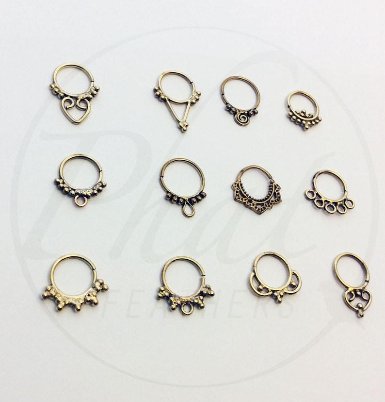 Festival Boho Jewelry Bohemian Jewelry Tribal Brass Jewelry Statement Jewelry Indian Nose Ring Brass Septum Piercing Nose Ring