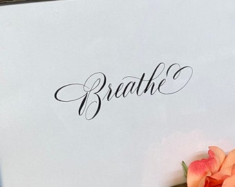 Calligraphy Wall art Breathe Printable, Bible Journaling for cutout--  instant download