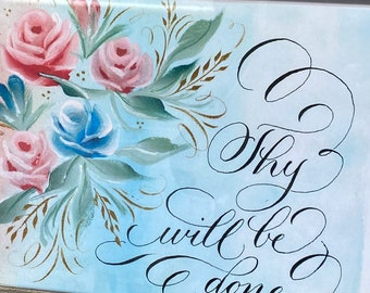 Flower Calligraphy Bible art Thy will be done Printable wall art, Bible Journaling for cutout--  instant download