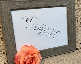 Oh Happy Day calligraphy printable wall art, Bible Journaling for cutout--  instant download