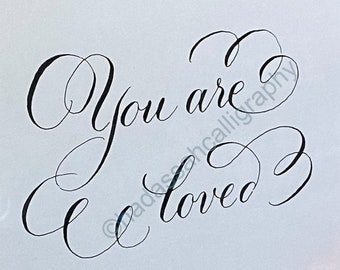 You are loved calligraphy printable wall art, Bible Journaling for cutout--  instant download