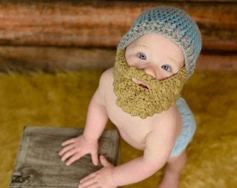 00dfadfd618160 Bearded Beanie - bearded baby - Halloween baby costume - Bearded Baby hat - baby  hat with beard - crochet hat with beard - hat with beard