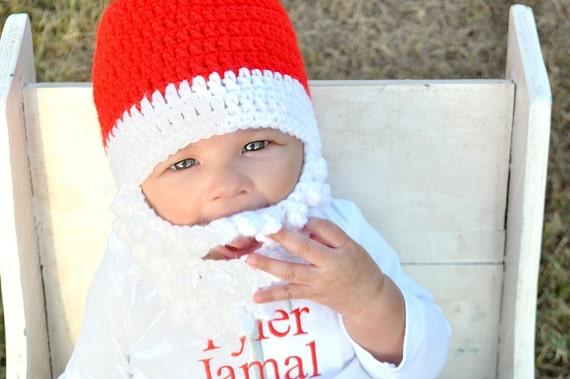 Baby Santa hat Baby Santa Hat with beard Santa baby  b7d3cd0ea58