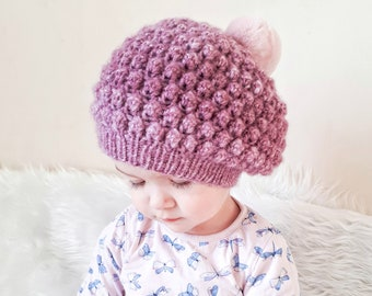 789c6a43ee6 Knitted hat for girl with fur pompom. Little girl s knitted hat. Knit beret  for girl. Hand knitted hat for girls. Dark pink hat for girls