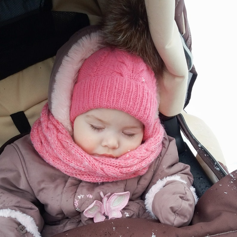 Pink baby girl hat with real fur pompom Knitting baby hat Wool winter infant hat Slouchy knit hat Cable knit hat Hand knit beanie