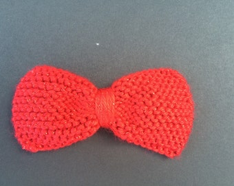 Red Sparkly Hand Knit Hair Bow-4 Sizes