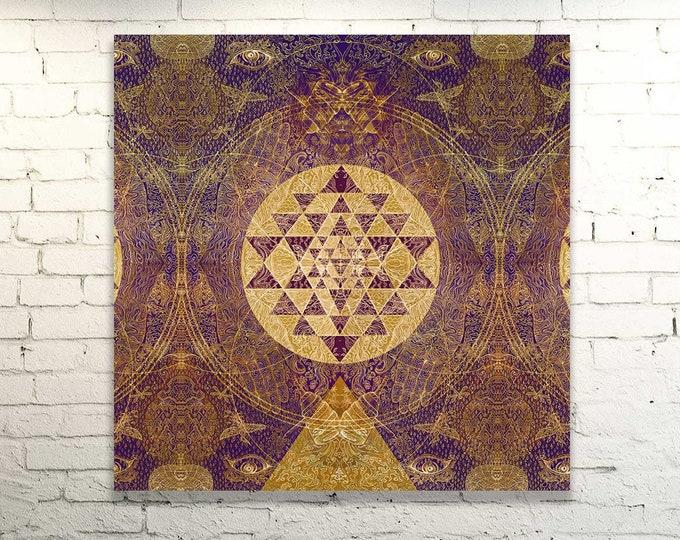 Featured listing image: SRI ALCHEMY Yantra - SatNam - Original Painted Artprint | Energised  on Canvas Variations - Customised Mandala Yoga Art