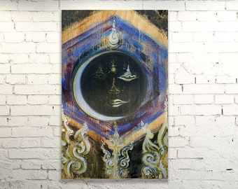 SHIVA MOON - Painting on Wood/Artprint on Canvas/Unique Custommade Variations - YOGA Art