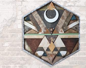 Equilateral - Wakantanka   Hexagon Wood Mandala from handcut and painted Woodtiles - Assemblage   Customisable Wall Art & Artprint on Canvas