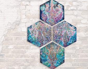 SYNERGIA - Hexagonal Quadrant - Original Painting of 4 Panels of each 40x50cm / 80x100cm - Customisable Artprint and Energised Art