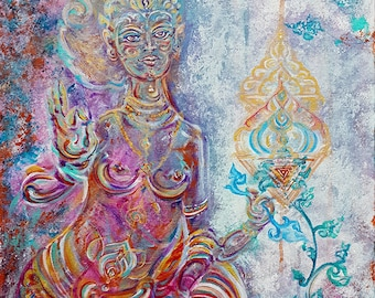 Devi Shakti - Original Painting & Energised Artprint/ Unique Custommade Art on Canvas in Various Size