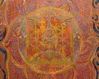 Red Earth Lotus - Muladhara ROOT Chakra   Original Painting on Canvas 100x120cm   Energised Artprint - Customised Yoga Art