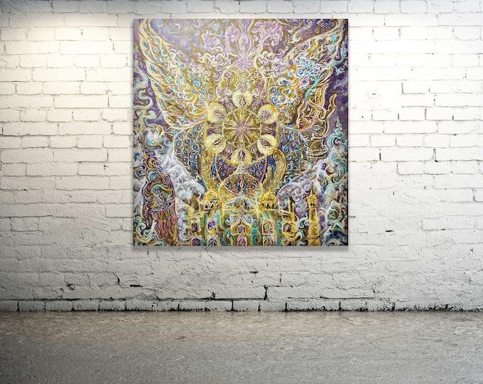 Featured listing image: Sahasrara CROWN CHAKRA - Original Painting - Artprint - Energised Art  | Customised Mandala YOGA Art
