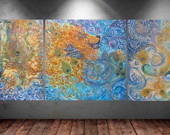Shakti Lion Roar-Original Triptichon Painting on Canvas 50x100/100x100cm/50x100cm & energised-custommade-unique Artprint in various size