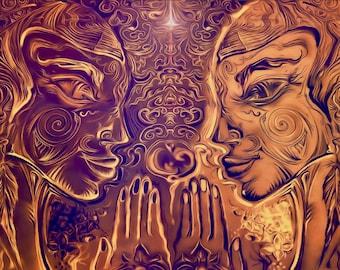 Namaste (Pranam)- Gratitude - Illustration-Mixedmedia-Original-Unique Artwork, Artprint, Painted & Energised Customised on Canvas - Yoga Art