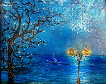 Blue Moon- Earth kisses Sky in Moonlight -Original Painting, Artprints or handpainted Repro in Various Size