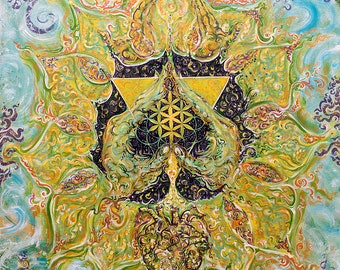 Anahata -HEART Chakra - Energised Painting on Canvas -Customised Yoga Art from Original Painting