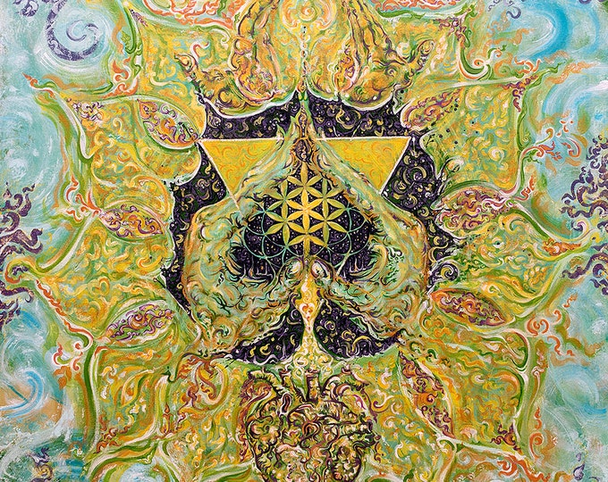 Featured listing image: Anahata -HEART Chakra - Energised Painting on Canvas -Customised Yoga Art from Original Painting
