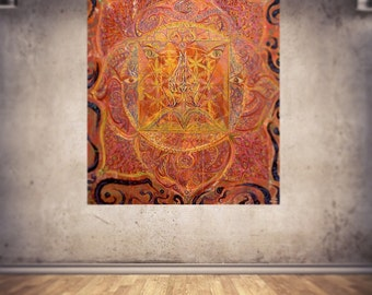 Red Earth Lotus-Muladhara-Root Chakra-Original Painting on Canvas 100x120cm / energised-custommade-unique Artprint / Deco Banner