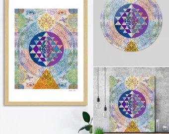 Sat Nam - Illustrated Medicine Mandala - Artprint, Energised original Artwork on Canvas
