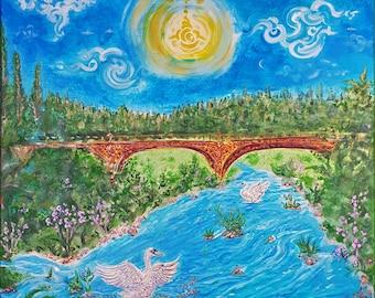 Am Fluss   Riverside Flow - Original Painting 70x70cm   Energised Unique Art - Customised  Artprint on Canvas