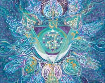 Vishuddhi Throat Chakra - Ether/Akash - Original Energised Unique Artprint, Painted - Customised Mandala Yoga Art