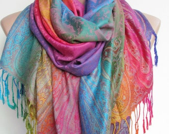 e587187259355 Pashmina Scarf Shawl Oversize Rainbow Scarf Fall Winter Women Fashion  Accessories Boho Ombre Scarf Holiday Christmas Gifts For Her For Women