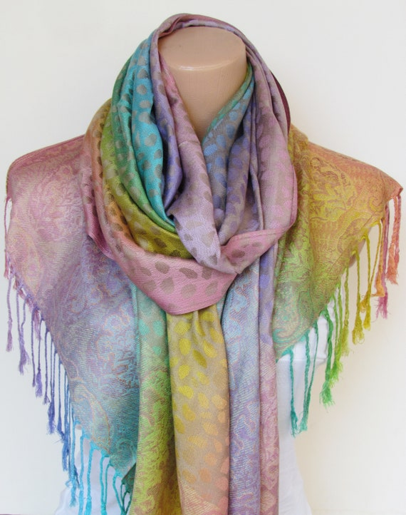 4783f8d7b Pashmina Scarf Shawl Oversize Rainbow Scarf Fall Winter Women | Etsy