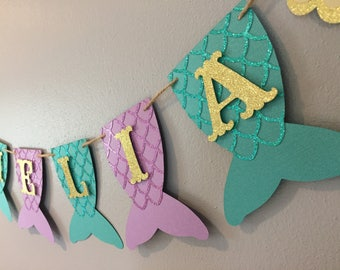 Mermaid Name Banner, baby shower, first birthday, under the sea,  mermaid party, mermaid banner, Purple, teal, and gold