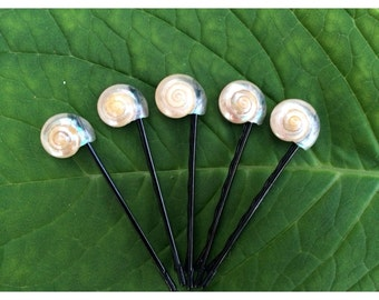 Pearl Umbonium Bobby Pins (Set of 5)