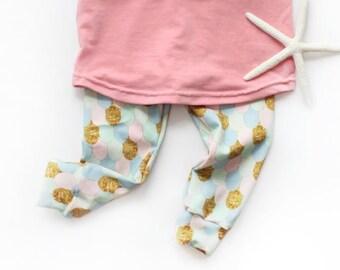 Mermaid Leggings / Faux Glitter / Girls Leggings / Kids Leggings / Kids Pants / Baby Toddler Pants / Fish Scales / Mermaid Clothes / 0-6
