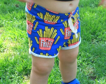 French Fries Rolled Cuff Shorts / Kids Shorts / Baby Shorts / Fun Kids Clothes / Fry Shorts / Cuff Shorts / Unisex Clothes / Fast Food