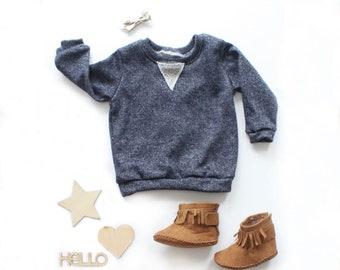 65771bafbafc3 Midnight Blue Crew Neck Sweatshirt / Terry Sweatshirt / Kids Sweatshirt / Kids  Pullover / Winter Shirt / Kids Loungewear / Winter Shirt