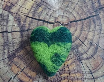 Large green needle felted heart decoration.