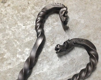 Dragon Head Fire Poker, Fire Tool, Forged Dragons Head, Blacksmith Made Fireplace Tool
