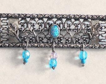 d0b99c5bd Israel Jewelry.Silver Israeli Brooch.Silver Vintage Brooch.Handmade Silver  Filigree.Israeli Designer.Silver Vintage Brooch.Blue Opal Brooch.