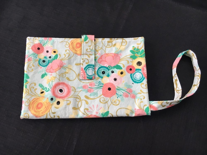 Diaper clutch with Coral Mint and Yellow Floral Print Turquoise