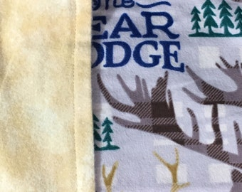 Buffalo Hunter and Bear Lodge Flannel Blanket - Baby or Toddler  Boy