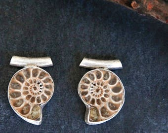 NEW Best Friend Ammonite Sterling Silver Pendants // Paired Matching Ancient Fossil Ocean Sea Creature // P-603-S