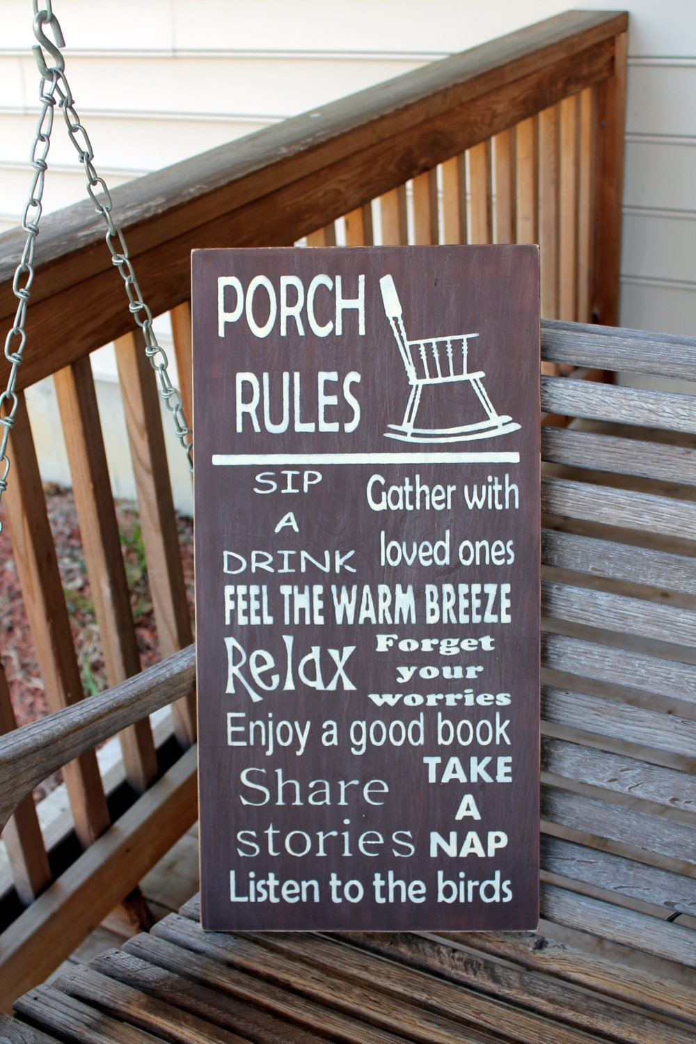 Porch Rules Wood Subway Sign Garden Sign Porch Sign Etsy