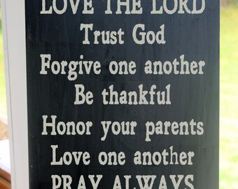 Christian Family Rules, Love the Lord, Prayer Sign, Religious Values Wood Sign