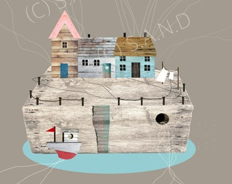 Fisherman Cottages, Cornwall Beach Houses, St Ives, Coastal Homes, Driftwood Art, Wooden, Living By The Sea, Cornwall, Art, Digital Download