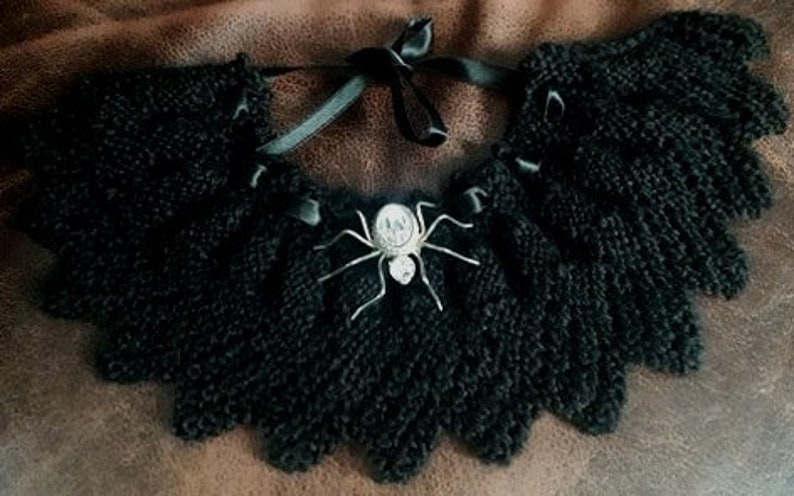 with silk ribbon ties wear -  front or back  - black,red or blue Victorian Gothic hand knitted collar