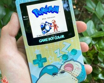"Custom Backlit Nintendo Gameboy Color IPS XL  ""Artist Series"" - Snorlax Edition by 8bitAesthetics & Jackie's Gaming Art"