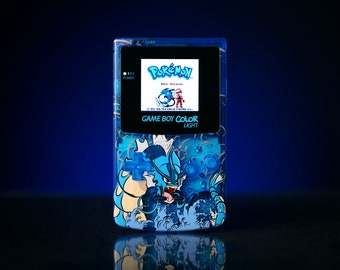"Custom Backlit Nintendo Gameboy Color ""Artist Series"" - Gyarados by 8bitAesthetics & Ori Avissar"